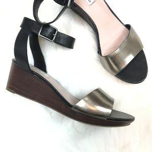 clarks orsino cafe heel wedge sandal black straps